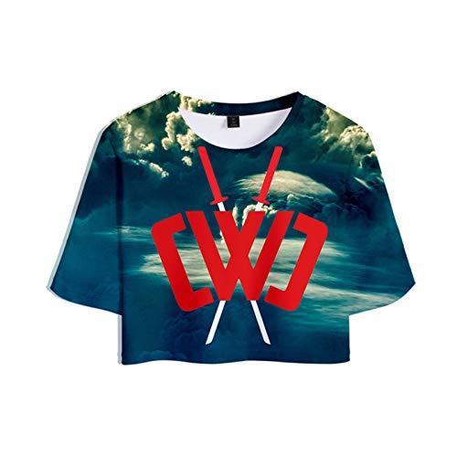 Chad Wild Clay T-Shirt Chad Wild Clay Sommer Crop Top T-Shirt Trainingsanzug Für Mädchen Ashion Print T-Shirt,3-M