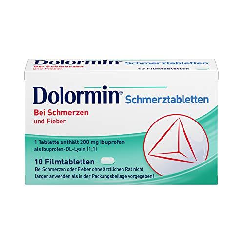 Dolormin Schmerztabletten – bei Schmerzen und Fieber – wie Kopf-, Zahn- und Regelschmerzen – 10 Tabletten
