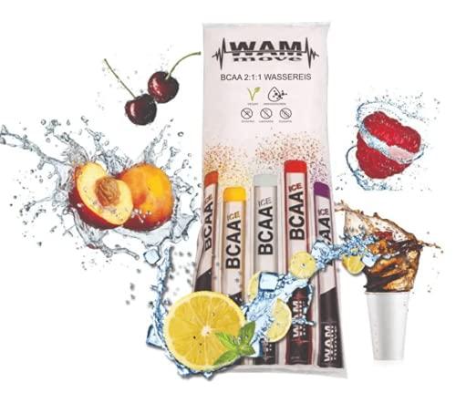 BCAA Wassereis by WAM move® | 600ml - 15 Stk. | Mit L-Leucin, L-Valin, L-Isoleucin (Branched-Chain Amino Acids = BCAAs) im bioidentischen Verhältnis 2:1:1 – Vegan - Eis