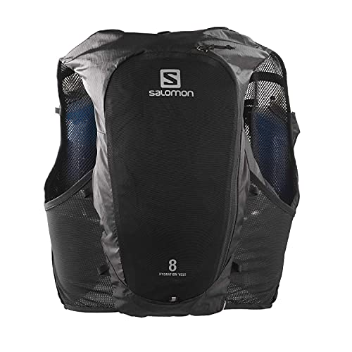 Salomon ADV Hydra Vest 8 Chaleco de hidratación 8L, 2 Botellas SoftFlask 500 ml Incluidas, Unisex-Adult, Negro, M