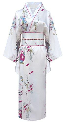 Japanischer Kimono für Damen, Geisha-Kostüm mit Schleife Gr. One Size, weiß