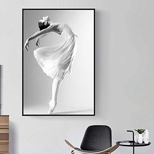 HANTAODG Leinwanddruck Moderne Minimalistische Ballettposter Wandkunst Leinwand Tanzbilder Kunstdrucke Mädchen Tolle Geschenke Wohnzimmer Wohnaccessoires 50Cmx70Cm