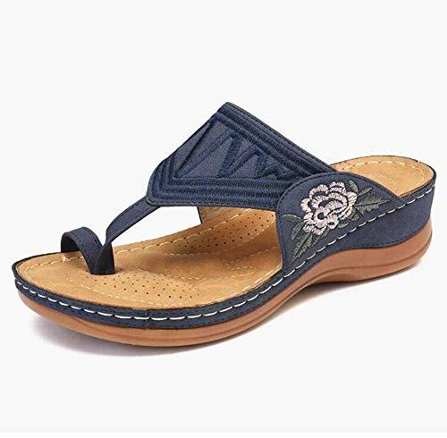 QLIGHA Sandalias Mujer Bordado Cómodas Cuñas Sandalias Moda Sexy Zapatilla Casual Verano Playa Sandalias diarias Sandalias de Viaje al Aire Libre Zuecos Mulas Corrector de juanetes Zapatos de Plata