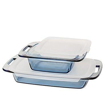 Pyrex Atlantic 4 Piece Value Pack Bakeware Set, Blue/Clear