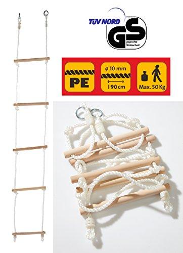 Izzy Sport 73207 Strickleiter aus Holz, 190 cm Gesamtlänge, Stufen ca. 30 x 3 cm