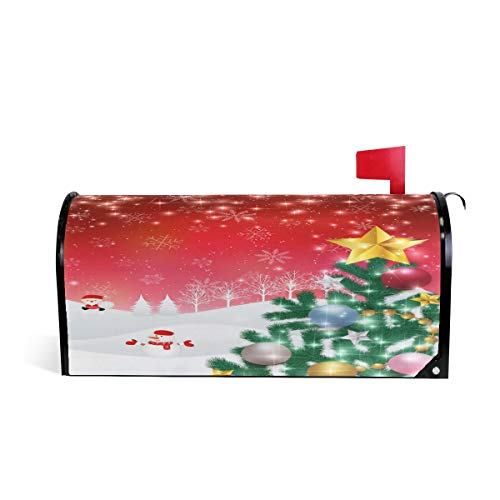 Arbre de Noël Snow Santa Bienvenue magnétique Boîte aux Lettres Boîte aux Lettres Coque stratifiées, Winter Snow Rouge Taille Standard Makover Mailwrap Garden Home Decor 64.7x52.8cm Multicolore