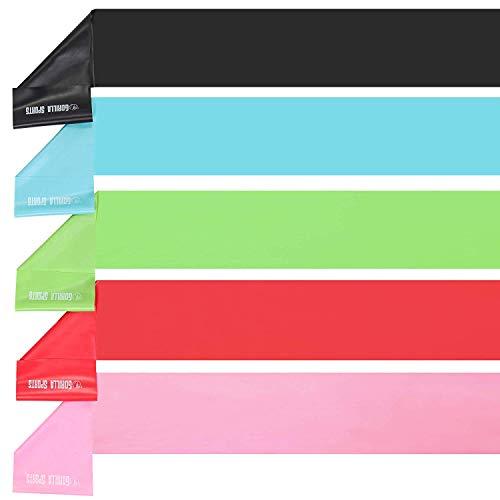 GORILLA SPORTS® Fitnessbänder-Set 120 cm Latex – Widerstandsbänder in 5 Farb- und Stärkevarianten