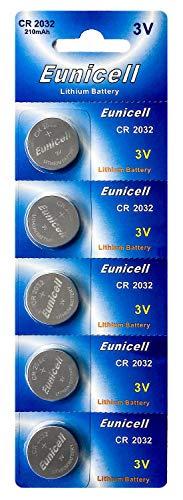 Eunicell 100 x CR2032 3V Lithium Knopfzelle 210 mAh (20 Blistercards a 5 Batterien) EINWEG Markenware FBA