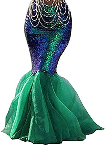 Wide.ling - Gonna a sirena da donna, maxi gonna con paillettes, coda di sirena, costume da carnevale Verde M