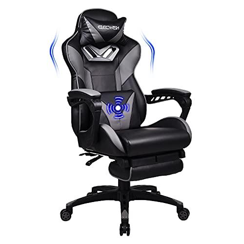 YU YUSING Massage Racing Gaming Stuhl Bürostuhl Ergonomisch Sportsitz höhenverstellbarer Computerstuhl Chefsessel Schreibtischstuhl mit Kopfstützen, verstellbaren Armlehnen und Fußstützen (Grau)