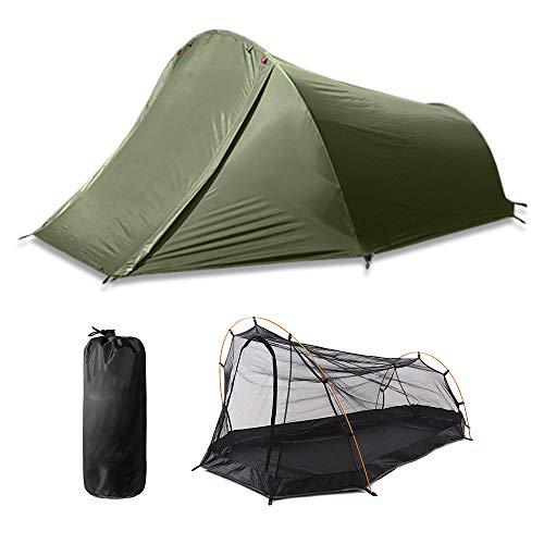 XLNB Outdoor-Camping Einzelzelt, Aluminiumstange Material Leichter Reiserucksack Schlafsack Outdoor-ausrüstung Camping Wandern Freizeitbedarf
