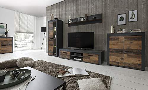 Beauty.Scouts Wohnwand Merle, Graphit Old Wood, 4-teilig, 300 x 159 x 45 cm, Wohnzimmerschrank Wohnzimmerregal Wohnzimmerschrank Wohnzimmerboard Wohnzimmer