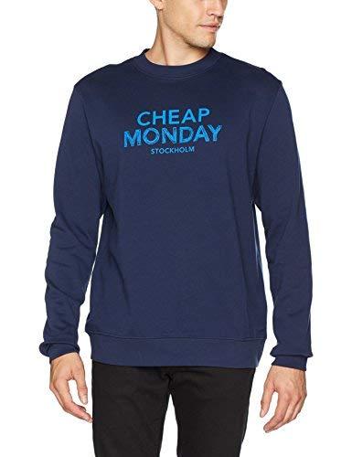 Cheap Monday Worth Sweat Doodle Logo Maglia di Tuta, Blu (Nuovo Blu), S Uomo