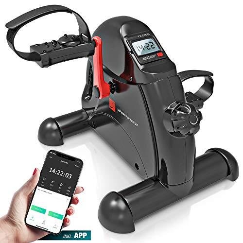 Sportstech Mini-Heimtrainer, Mini-Bike + Fitness-App| Beintrainer + Armtrainer für Senioren | Bewegungstrainer für Zuhause & Büro | verstellbare Pedale + Massagefunktion | Für Männer & Frauen | DFX50