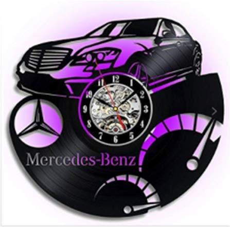 xjm Comercio Exterior Hot Glue Clock Mercedes Mercedes Récord de Coches Reloj de Pared Retro nostálgico Casa Casa Creativa Reloj (Size : with Light)