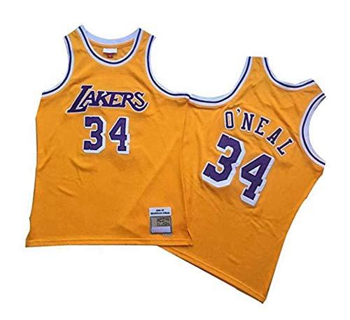 DFGHU Para Hombres Baloncesto Laker Jugador Jersey Repetible Limpieza O'neal Jersey #34 Oro, dorado, XL