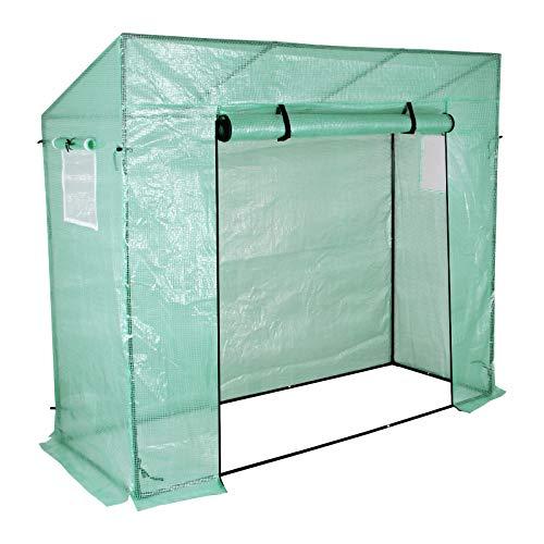 Yorbay Foliengewächshaus Gewächshaus für Tomaten, mit Gitternetzfolie und Fernster für Garten zur Aufzucht, Schrägdach, Grün, 200 x 80 x 173/143cm (LxBxH) Mehrweg