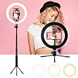 Anillo de luz LED, 10 Ring Light 3 Colores 10 Brillos Regulables Control Remoto Bluetooth, Aro De Luz LED Regulable con Trípode para Fotografia, Teléfono, Maquillaje, Selfie, Youtube, Vlog