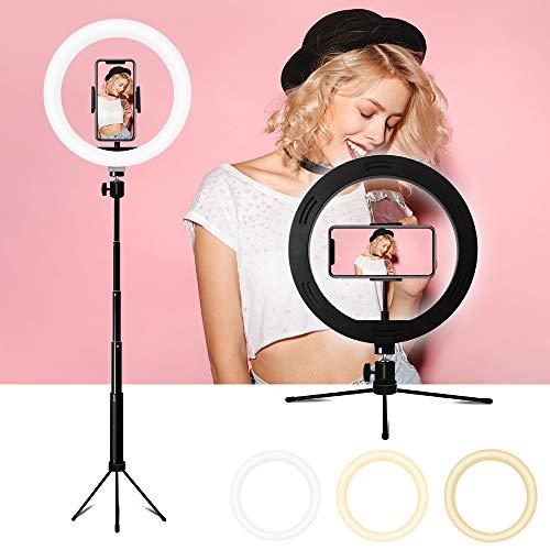 """Anillo de luz LED, 10"""" Ring Light 3 Colores 10 Brillos Regulables Control Remoto Bluetooth, Aro De Luz LED Regulable con Trípode para Fotografia, Teléfono, Maquillaje, Selfie, Youtube, Vlog"""