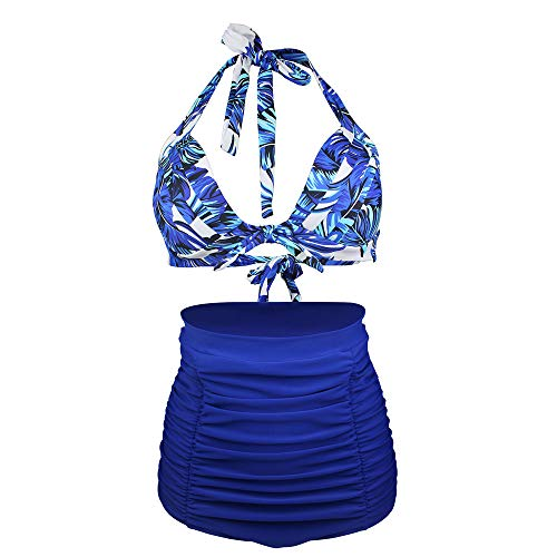 Jmsc Schwimmanzug Bikini Set Damen Drucken Bademode High Waist Zweiteiliger Badeanzug Damen Badebekleidung Beachwear Push Up Swimsuits Strandmode Tankinis Badekleid M