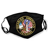 United States DAV Disabled American Veterans Mask Anti-dust Dust Mask for Camping Travel Unisex The Scarf Black