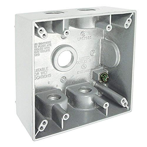 Hubbell-Raco 5337-1 Weatherproof Box, 2 Gang, 31 Cu-in X 4-9/16 in L X 4-1/2 in W X 2 in D, White