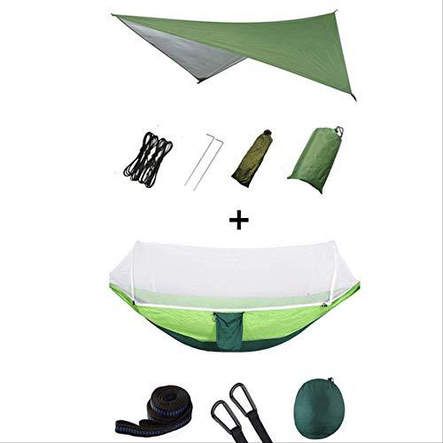 Hangmat MYKK Outdoor draagbare hangmat met klamboe en regen Fly Camping rugzak Hangmat en net Parachute Hangmat Luifel 250 * 120cm Groen en lichtgroen