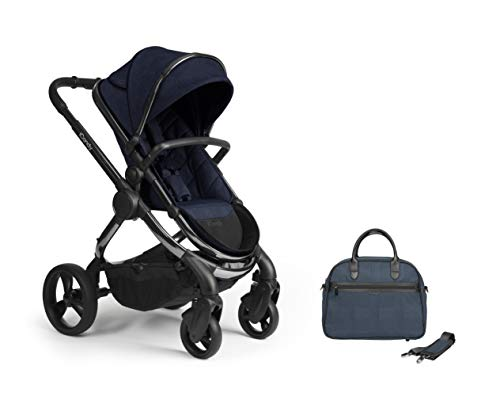 iCandy Peach Phantom Navy Check Pushchair & Carrycot Set with Bag, IC2383