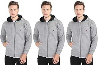 Quco Men's Cotton Fleece Hood Sweat Shirt Combo Pack of 3- (G.Melange)