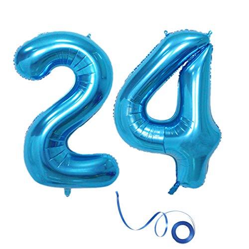 Party Folienballon Zahl 24 Blau Helium Luftballon Nummer 24 Geburtstag Nummer 24 Geburtstag Party Dekoration Luftballon Geburtstag XL Folienballon 32