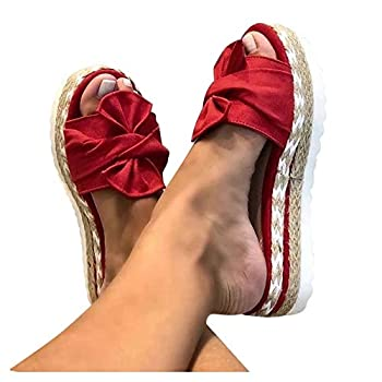 Aniywn Summer Bow Tie Flip Flops Flat Espadrille Platform Wedge Sandals for Women Casual Breathable Open Toe Sandals Red