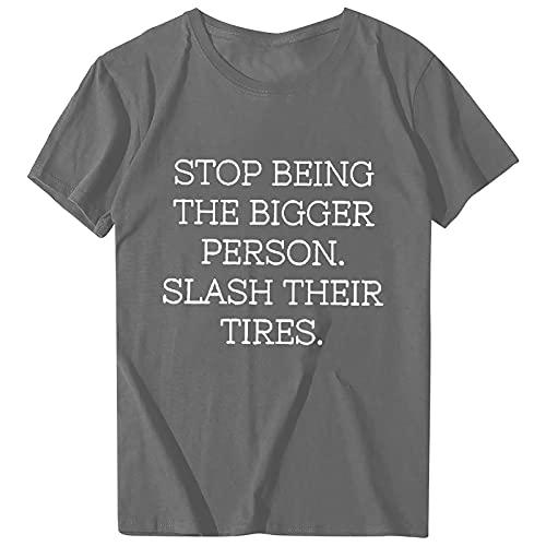 Bilbull Camiseta de manga corta para mujer, informal, con cuello en O, para verano, básica, con cuello en V, holgada, con estampado gráfico gris XXXL