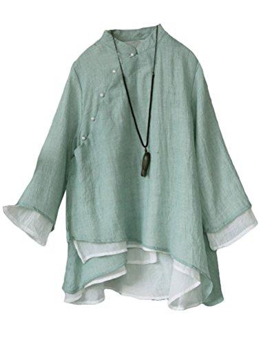 Lavnis Damen Leinen Tuniken Langarm Blusen V-Ausschnitt Hemd Vintage Shirts Tops Grün Fits EU 36-44