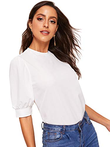SheIn Women's Puff Sleeve Casual Solid Top Pullover Keyhole Back Blouse White Large