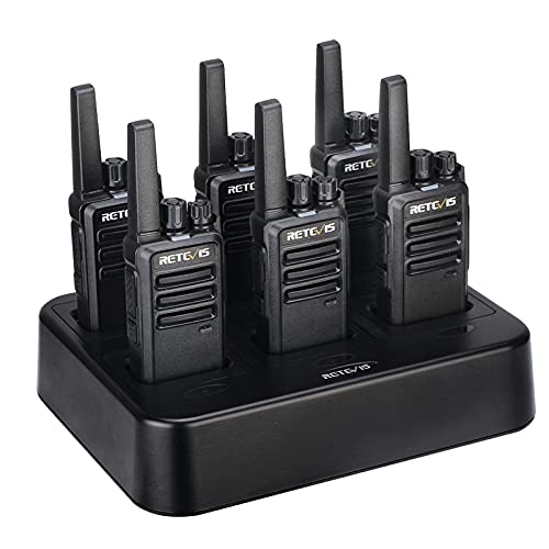 Retevis RT68 Walkie Talkies Rechargeable, Portable Two Way Radios 6 Pack with Six-Way Multi Gang Charger, Heavy Duty Walkie Talkie for Adults, Hands Free, Long Range, for School Restaurant Farm