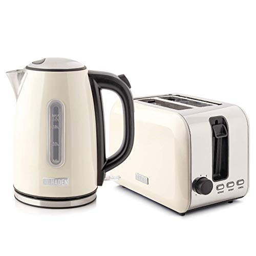 Haden Tunbridge Kettle and Toaster Set - Electric Boil Kettle, 3000W, 1.7Litre and Two Slice Toaster, 750W, Cream