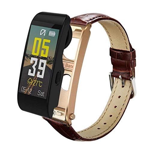 Y6 Smart Watch with Bluetooth Earphone, Driving Running Call Music Enjoy Heart Rate Monitor Blood Pressure Smartwatches Men,Brownleatherstrap