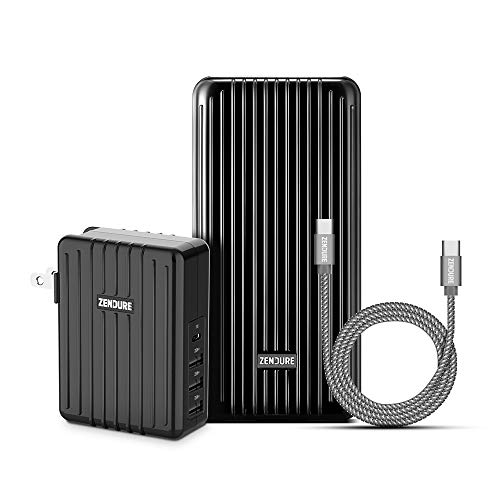 Zendure PD Power Bank 20000mAh Bundle - A6PD 20,100mAh USB-C 3A Portable Charger, 4-Port 45W Power Delivery Wall Charger and 20 inch USB C to C Cable for iPhone, Mac, OnePlus, Galaxy and More - Black