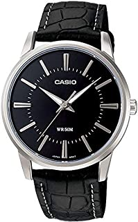 Casio Enticer Men's Black Dial Leather B and Watch [MTP-1303L-1AV]