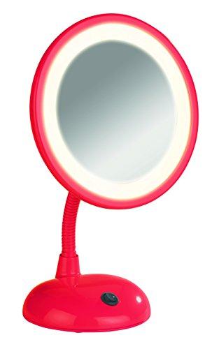 Wenko 3656443100 Miroir sur Pied Cosmétique Style Grossissement x3 Rouge