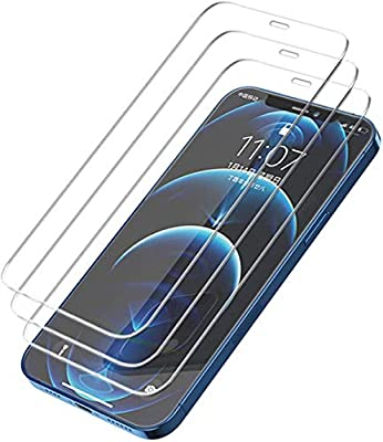 Woltechz 3 Packs Screen Protector compatible with iPhone 12, 12 Pro, 3D Edge Anti-Scratch Tempered Glass Film for Apple 6.1 inch 9H Hardness Screen Protector with Easy Installation Tool