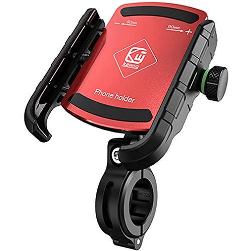 RXLLSY Soporte de Aluminio para TeléFono de Motocicleta, Soporte de Manillar de Bicicleta De Motocicleta para Soporte de Espejo Retrovisor de TeléFono Celular de 3-7 Pulgadas,Rojo