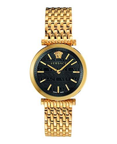 Versace V-Twist dameshorloge goud stalen armband behuizing zwarte wijzerplaat 36mm VELS00819