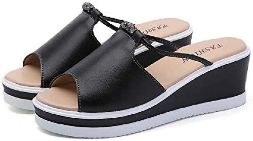 LINGZE Sandalias con Plataforma para Mujer Tacones Cuñas Plataforma Cuero Peep Toe Cristal Sandalias Elegantes para Mujer Mulas para Mujer Zuecos Zapatos de Verano (Color: Black, Size: 38EU)