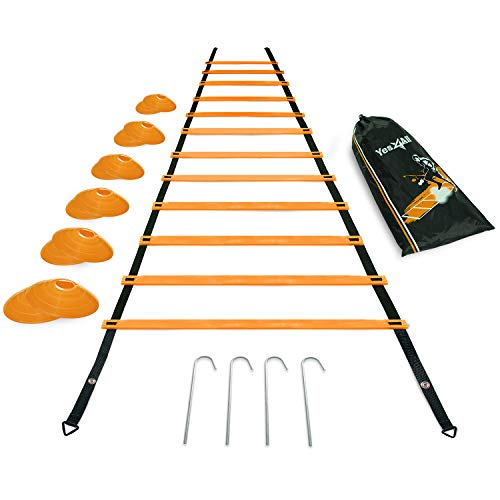 Yes4All Ultimate Combo Agility Ladder Training (Orange) Set – Speed Agility Ladder Orange 12 Adjustable Rungs, 12 Agility Cones & 4 Steel Stakes - Included Carry Bag