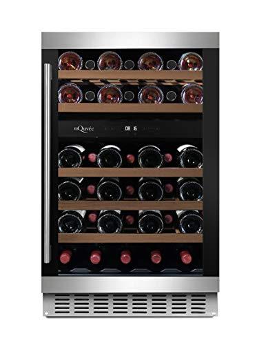 mQuvee WineCave 700 50D - Nevera para vino (38 botellas, 2 zonas de temperatura 5-20 °C, 50 cm de ancho), color negro