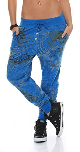 Malito Damen Jogginghose mit Jungle Print | Sporthose mit Muster | Baggy zum Tanzen | Sweatpants - Trainingshose 83728 (blau)