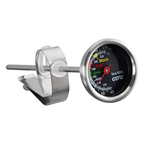 Gefu ge21770 thee/melk thermometer, roestvrij staal, grijs, 14,5 x 3,7 x 3,7 cm