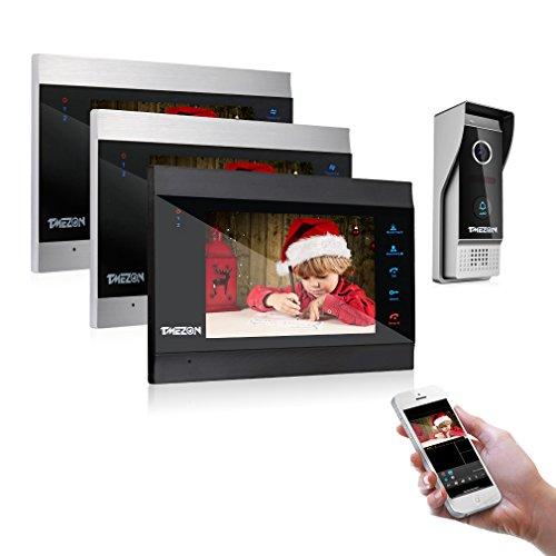 【Nuevo】TMEZON Sistema de intercomunicación inalámbrico de 7 Pulgadas con Sistema de intercomunicación de videoportero Inteligente y WiFi IP con Sistema de Entrada de Timbre con 3 monitor1x1080P Cámara