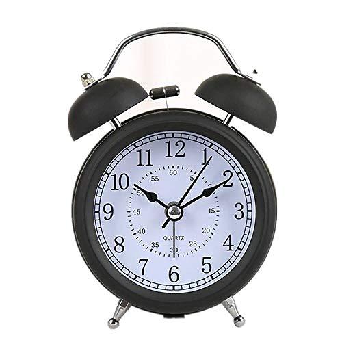 YANGWEI Mini Reloj Despertador De Doble Campana Clásico De 3 Pulgadas con Pilas, Alarma Mecánica con Dial Estéreo, Luz Nocturna, Controlador De Cuarzo, Sin Tictac Y Sin Ruido